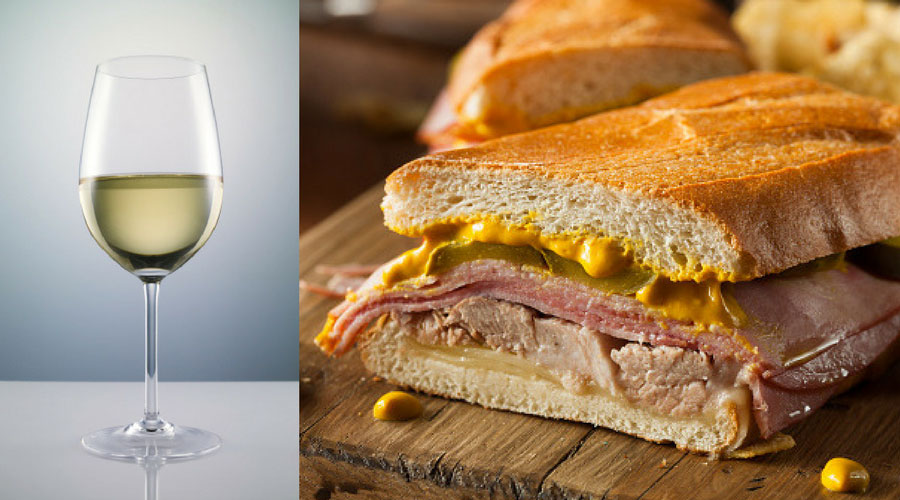 Cubano with with wine