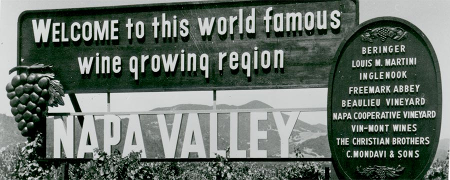 Napa Valley Sign in the 1970s