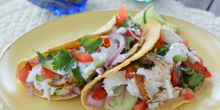 Recipe fish tacos with citrus cucumber relish and pico de for Fried fish tacos recipe
