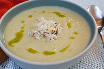 Sweet White Corn Soup with Crab and Chive Oil